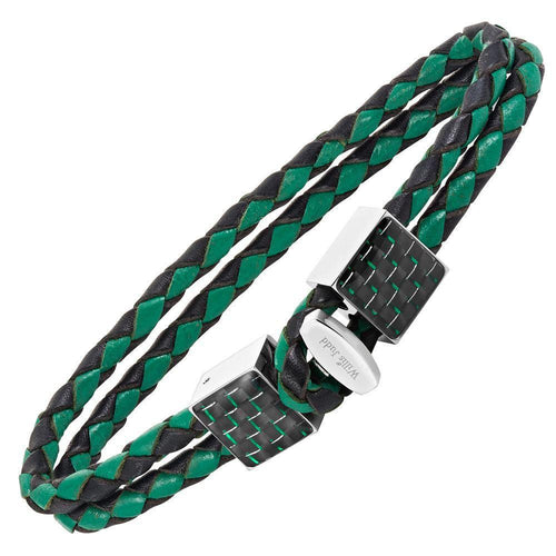 Willis Judd Men's Black and Green Magnetic Leather and Stainless Steel Bracelet with Green Carbon fibre Gift Boxed