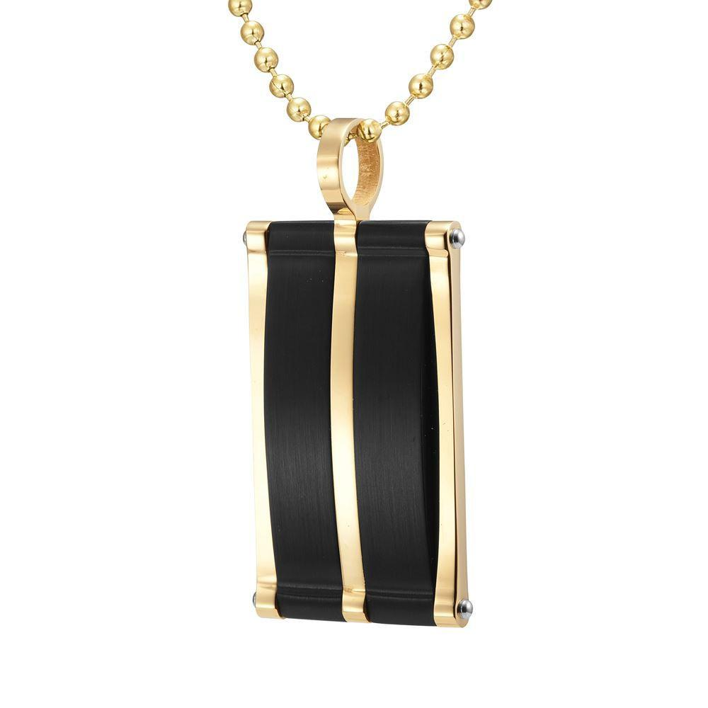 Willis Judd Mens Stainless Steel Two Tone Black Pendant with Necklace and Gift Pouch