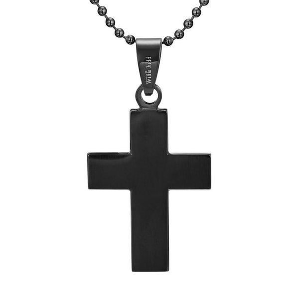 Willis Judd Men's Black Stainless Steel Cross Pendant with Blue Carbon fibre with Necklace & Gift Pouch