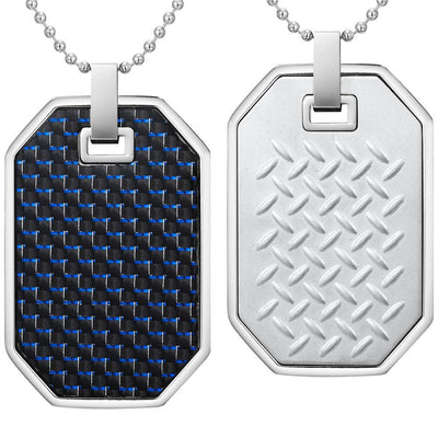 Willis Judd Mens Reversible Stainless Steel Blue Carbon fibre and Checker Plate Effect Pendant with Necklace and Gift Pouch