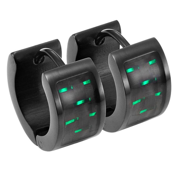 Willis Judd Men's Black Stainless Steel Huggie Earrings with Green Carbon fibre in Gift Pouch