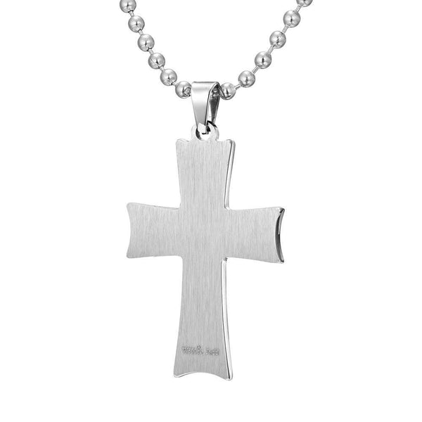 Willis Judd Mens Stainless Steel Cross Black Carbon Fiber Pendant with Necklace and Gift Pouch