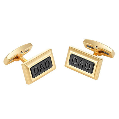 Willis Judd Men's DAD Two Tone Black Stainless Steel Cufflinks with Gift Pouch