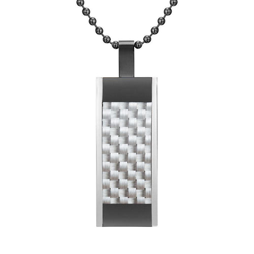 Willis Judd Mens Black Stainless Steel Tri Color White Carbon Fiber Pendant with Necklace and Gift Pouch