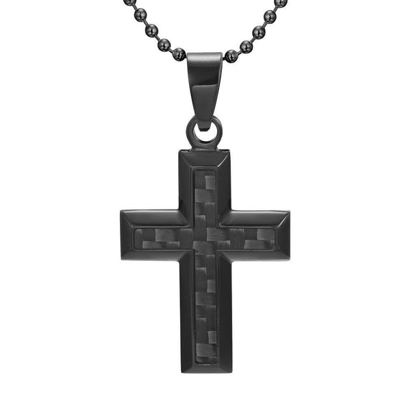 Willis Judd Men's Black Stainless Steel Cross Pendant with Black Carbon Fiber with Necklace & Gift Pouch