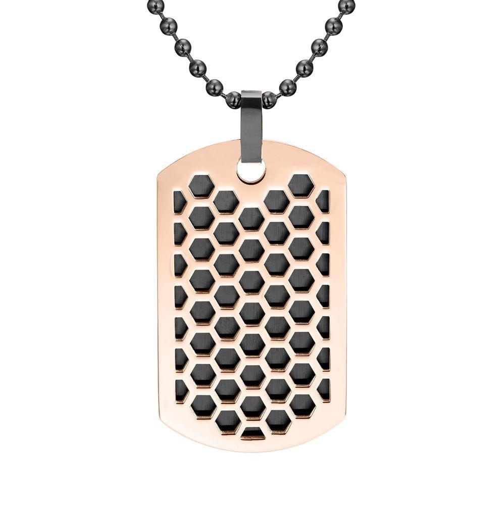 Willis Judd Mens Black Stainless Steel Two-Tone Honey Comb Pendant with Necklace and gift Pouch