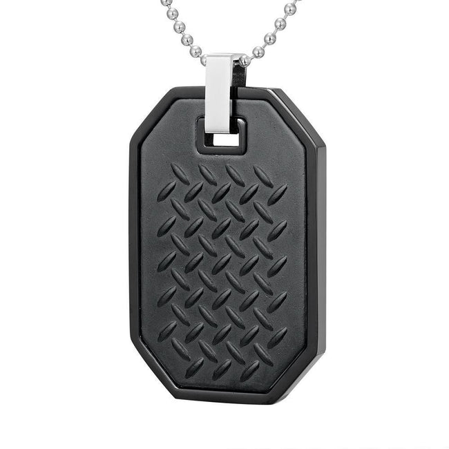 Willis Judd Mens Black Stainless Steel Checkered Plate Effect Pendant with Necklace and Gift Pouch
