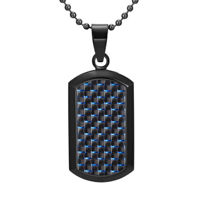 Willis Judd Men's Black Stainless Steel Dog Tag Pendant Engraved Love You Dad with Blue Carbon fibre and Necklace with Gift Pouch