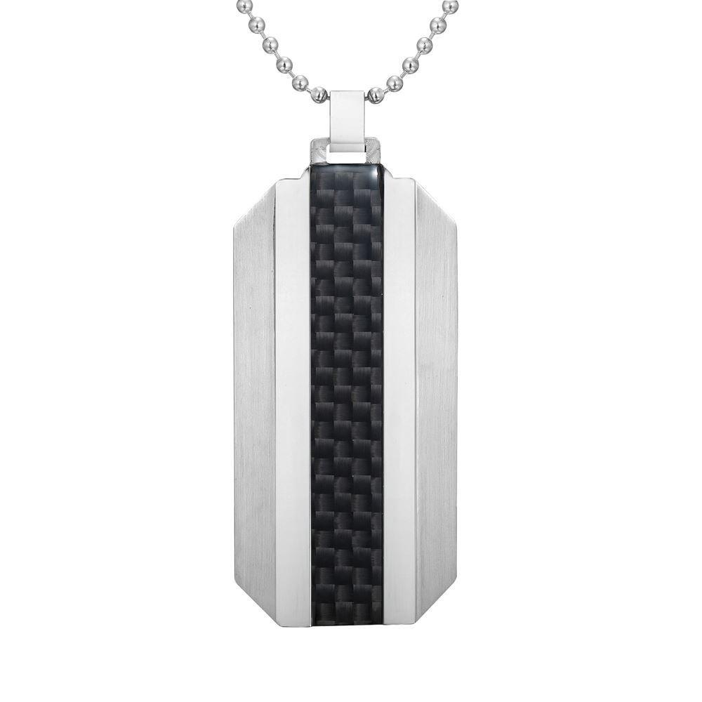 Willis Judd Mens Stainless Steel With Black Carbon Fiber Pendant with Necklace and Gift Pouch