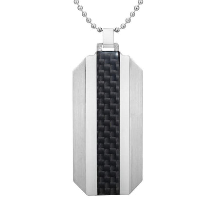Reversible Black Stainless Steel Blue Carbon fibre and Honeycomb Pendant with Chain