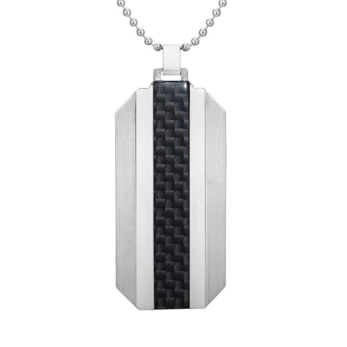Willis Judd Mens Stainless Steel With Black Carbon fibre Pendant with Necklace and Gift Pouch