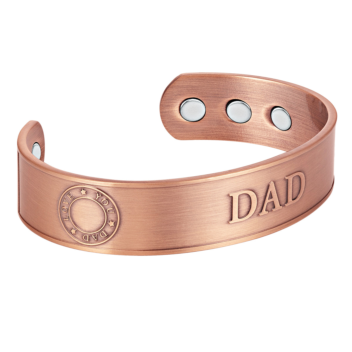 Men's Magnetic DAD Copper Bangle Bracelet Embossed Best Dad Ever