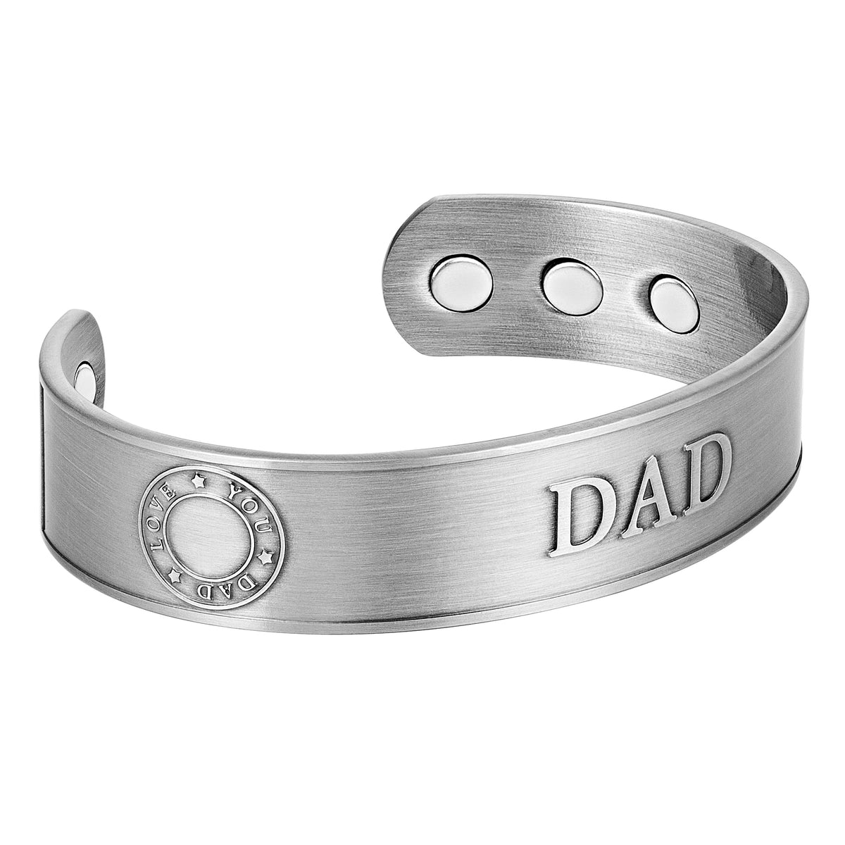 Men's Magnetic DAD Copper Bangle Bracelet Embossed Best Dad Ever & Love You Dad