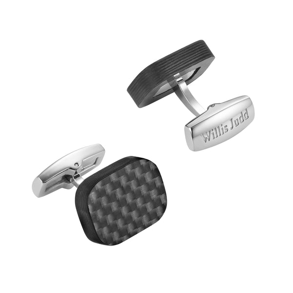 Willis Judd Mens Pure Solid Carbon Fiber Cuff Links