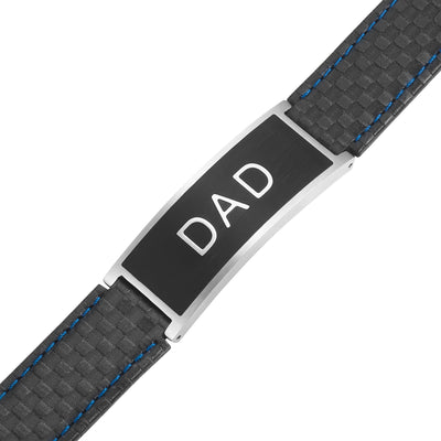 Mens DAD Carbon Leather Bracelet engraved Best Dad Ever