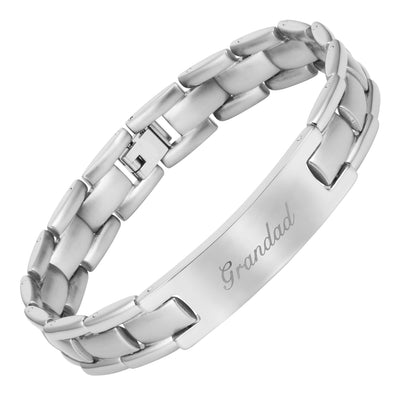 Mens Stainless Steel Bracelet Engraved with Grandad, Love You Grandad