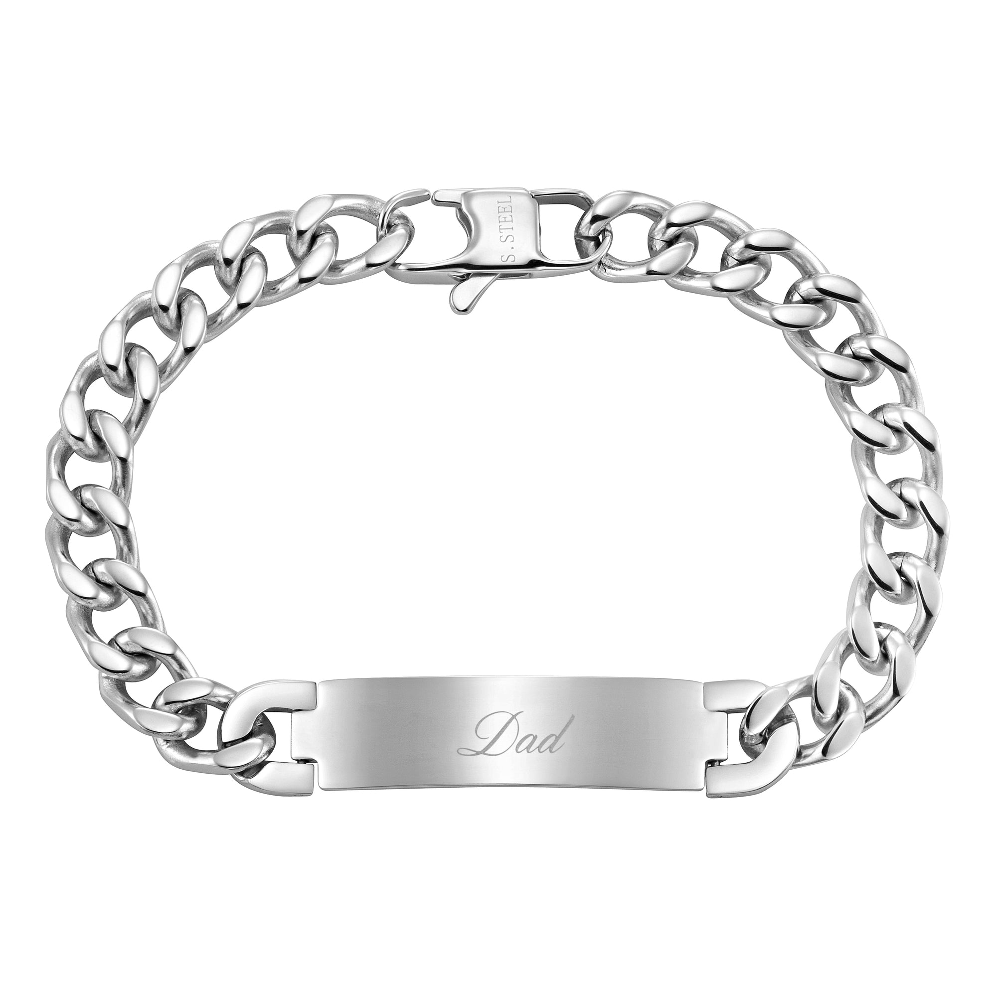 DAD Stainless Steel ID Bracelet Engraved Love You Dad