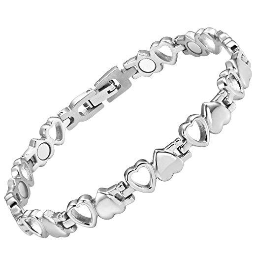Ladies Love Heart Titanium Magnetic Anklet Free Resizing Tool Gift Box