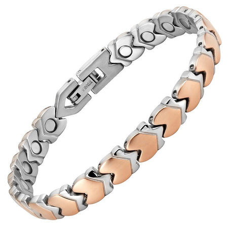 Ladies Carbon Fibre Gold Tone Titanium Magnetic Bracelet