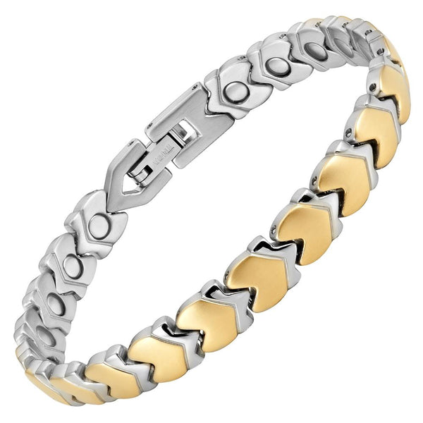 Ladies Two Tone Titanium Magnetic Bracelet