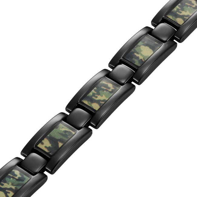 Mens Black Titanium Magnetic Bracelet with Green Camouflage