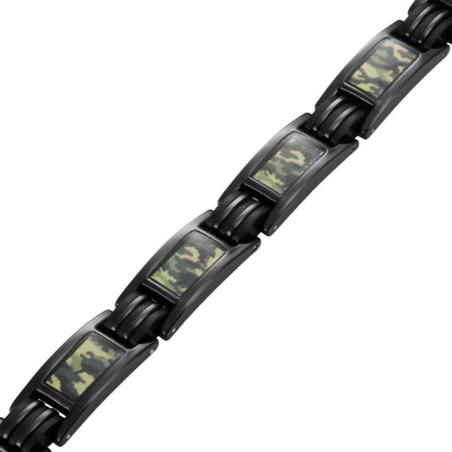 Men's Black Titanium Magnetic Bracelet with Green Camouflage