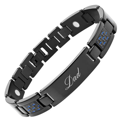 Men's DAD Titanium Magnetic Therapy Bracelet engraved Best Dad Ever with Blue Carbon Fiber