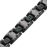 Men's Black Titanium with Green CZ Magnetic Bracelet