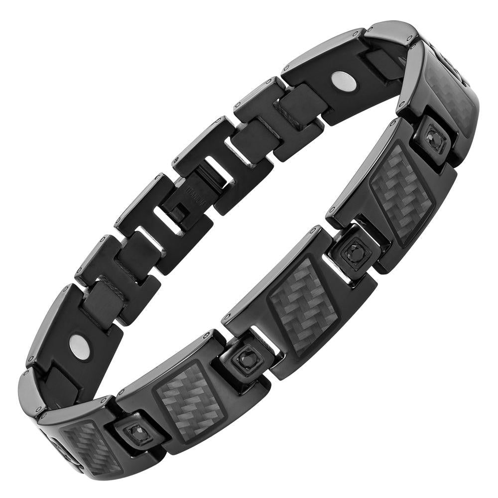 Men's Black Titanium with Black CZ and Carbon Fiber Magnetic Bracelet