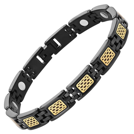 Ladies Titanium Gold Carbon Fibre Magnetic Bracelet