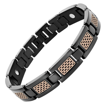 New Mens 4 Element All Black Titanium Magnetic Bracelet Free Adjuster Gift Box