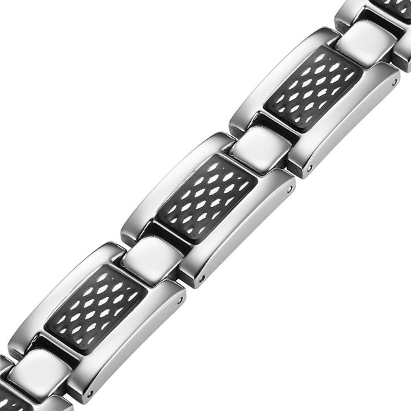Mens Black Honey Comb Titanium Magnetic Bracelet
