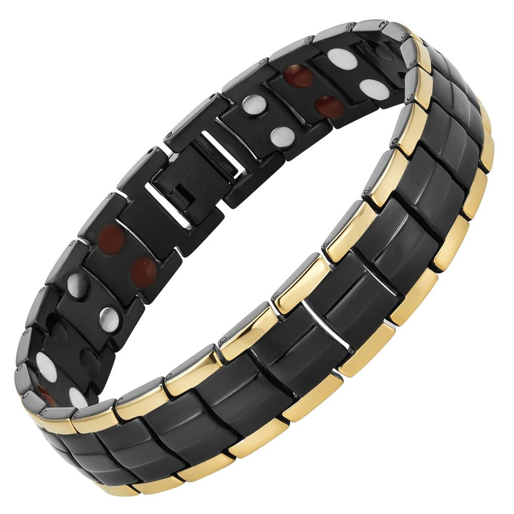 Mens Double Strength Four Element Magnetic Titanium Bracelet