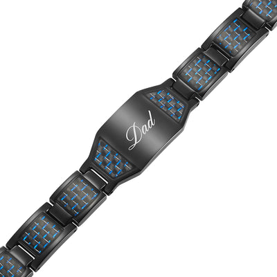 DAD Black Titanium Magnetic Therapy Bracelet Featuring Blue Carbon Fiber Engraved Best Dad Ever