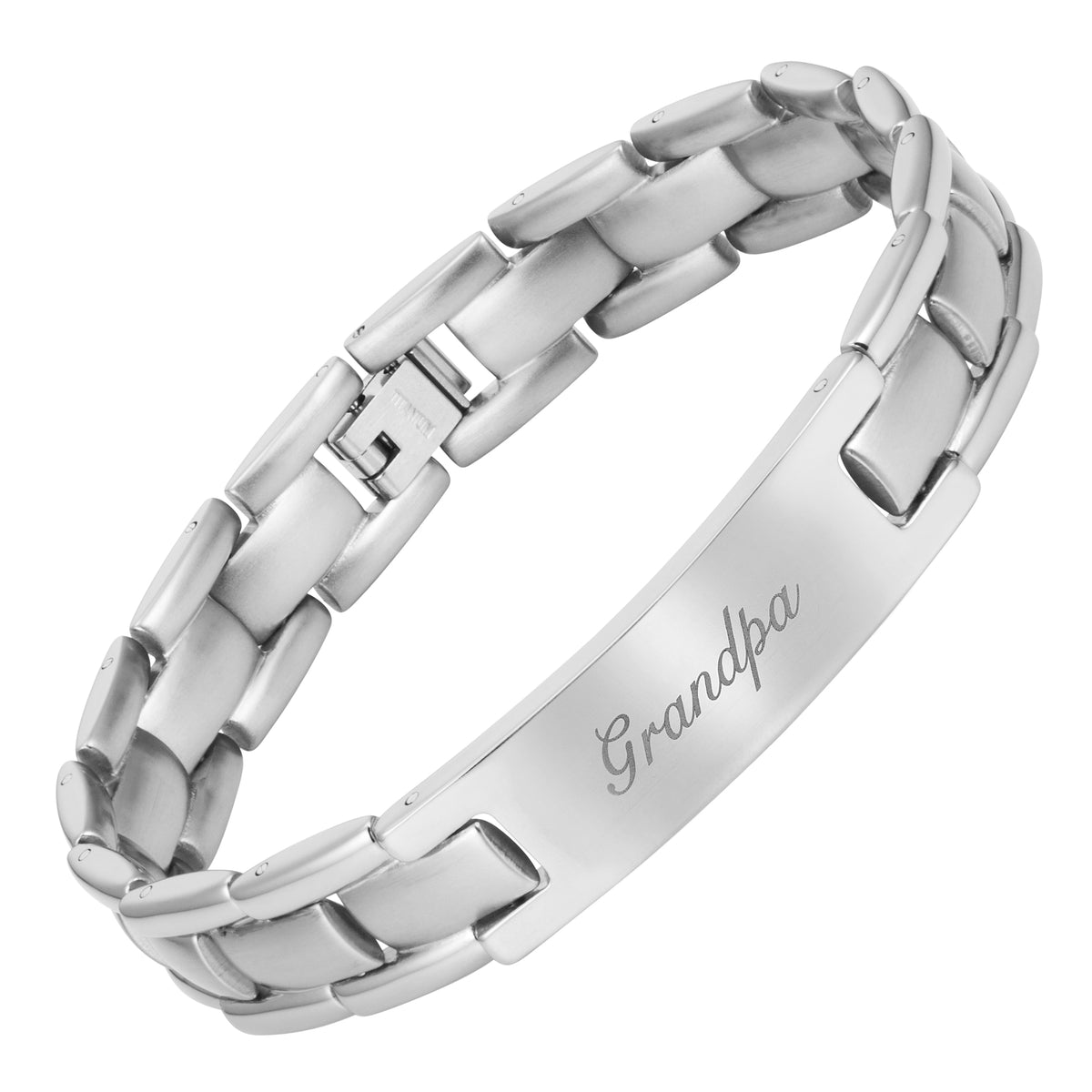 Mens Titanium Engraved with Grandpa, Love You Grandpa