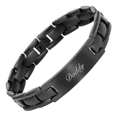 DADDY Black Titanium Bracelet Engraved With Love You Daddy