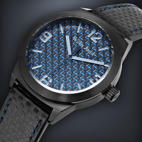 Black PVD with Blue Carbon fibre
