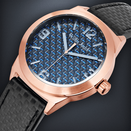 Rose Gold PVD with Black Carbon fibre