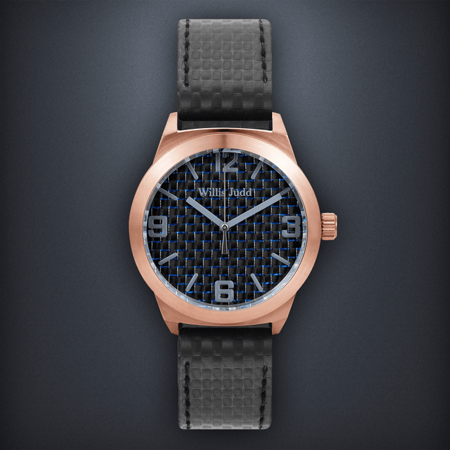 Rose Gold PVD with Blue Carbon fibre