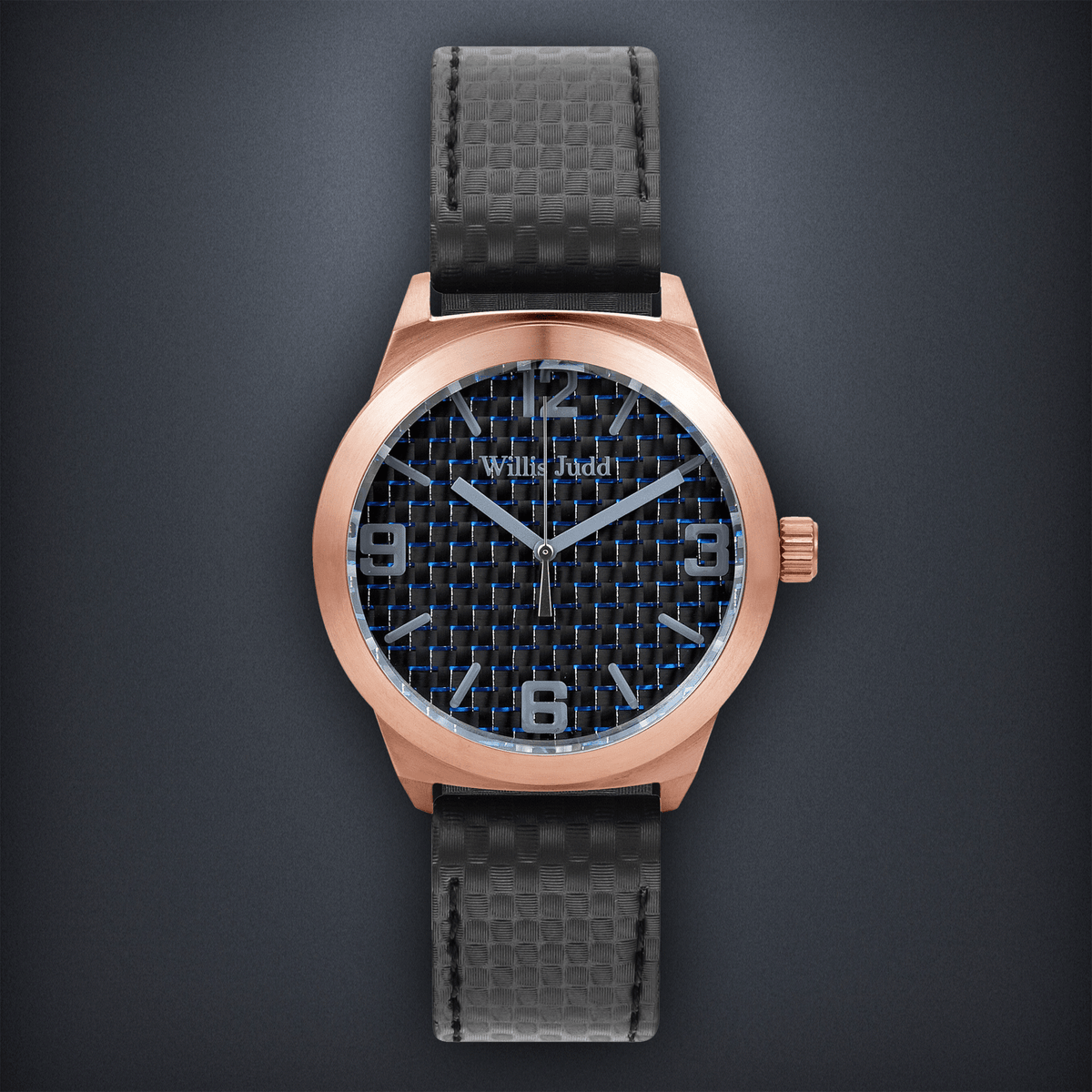 Rose Gold PVD with Blue Carbon Fiber