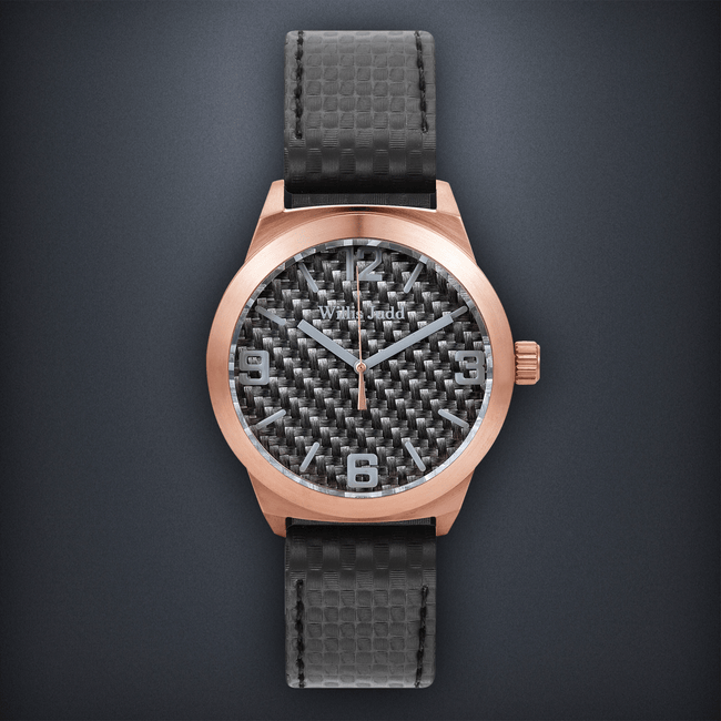 Rose Gold PVD with Graphite Carbon fibre