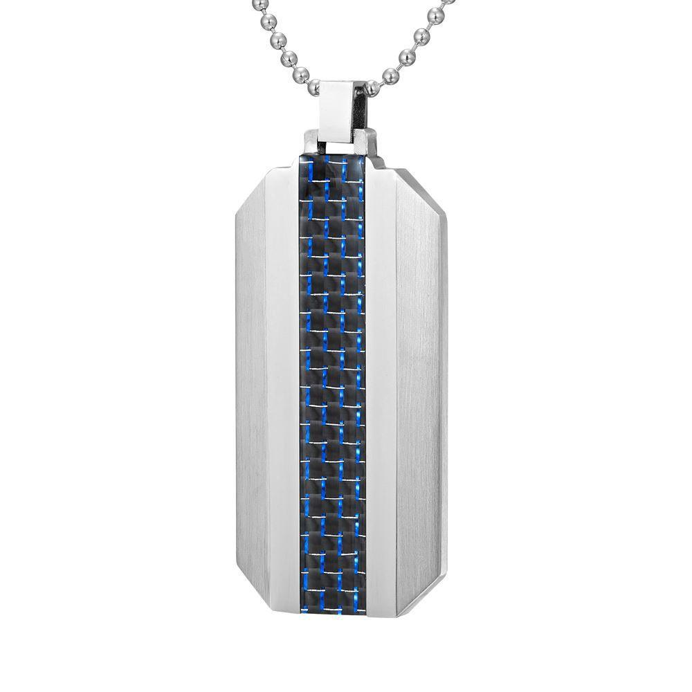 Willis Judd Mens Stainless Steel With Blue Carbon Fiber Pendant with Necklace and Gift Pouch