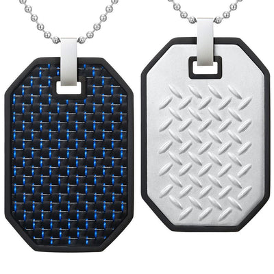 Willis Judd Mens Reversible Black Stainless Steel Blue Carbon fibre and Checker Plate Effect Pendant with Necklace and Gift Pouch