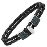 Willis Judd Men's Black Magnetic Leather and Stainless Steel Bracelet with Green Carbon fibre Gift Boxed