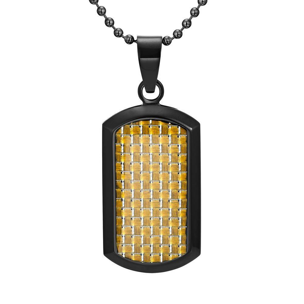 Willis Judd Men's Black Stainless Steel Dog Tag Pendant with Colored Carbon Fiber and Necklace & Pouch