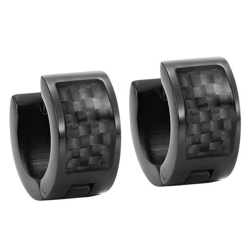 Willis Judd Men's Black Stainless Steel Huggie Earrings with Black Carbon fibre in Gift Pouch