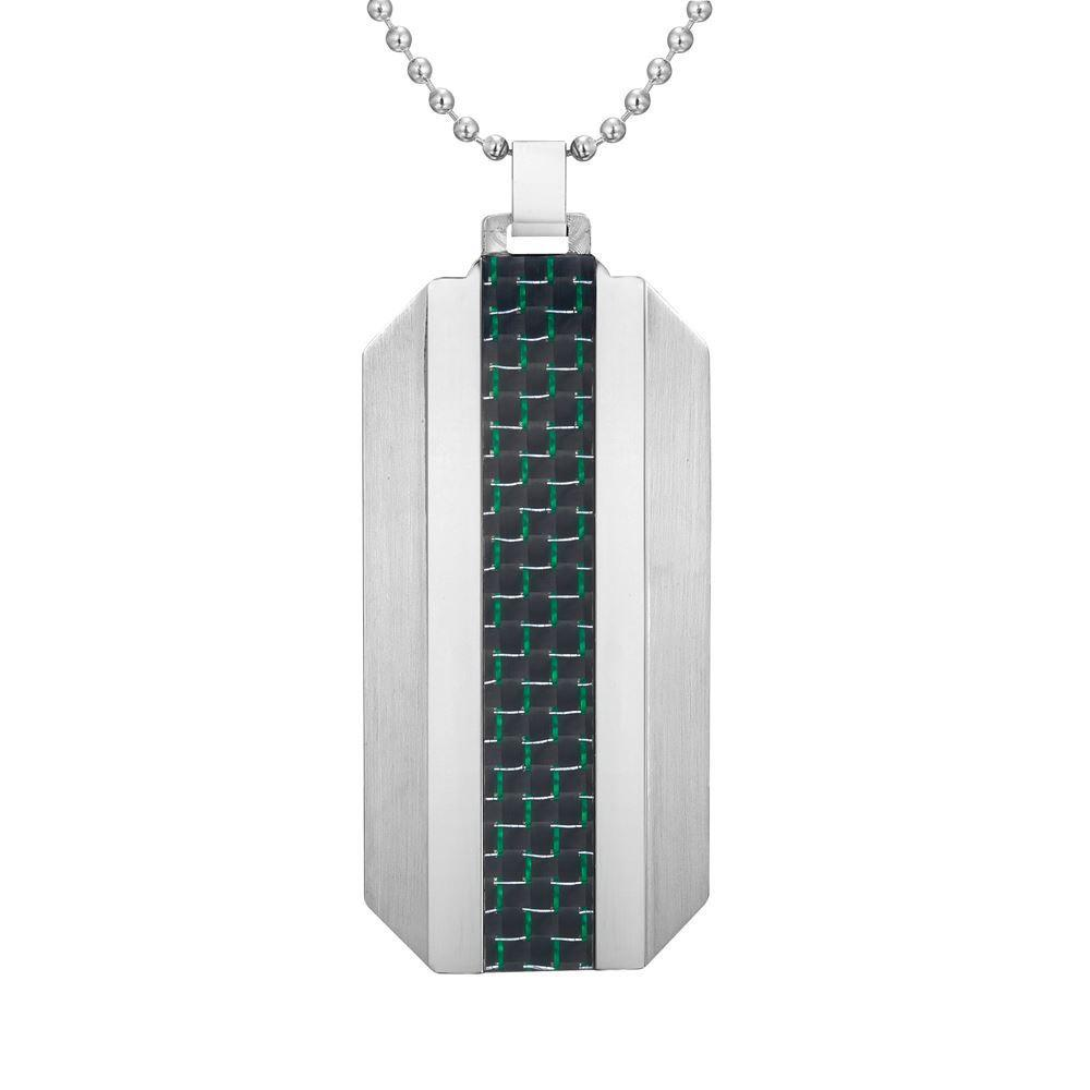 Willis Judd Mens Stainless Steel Green Carbon fibre Pendant with Necklace and Gift Pouch