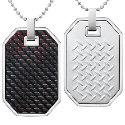 Willis Judd Mens Reversible Stainless Steel Red Carbon fibre and Checker Plate Effect Pendant with Necklace and Gift Pouch