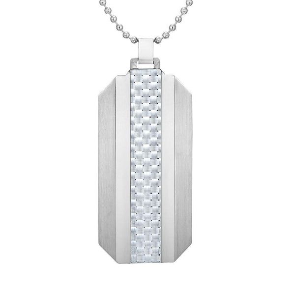 Willis Judd Mens Stainless Steel With White Carbon Fiber Pendant with Necklace and Gift Pouch
