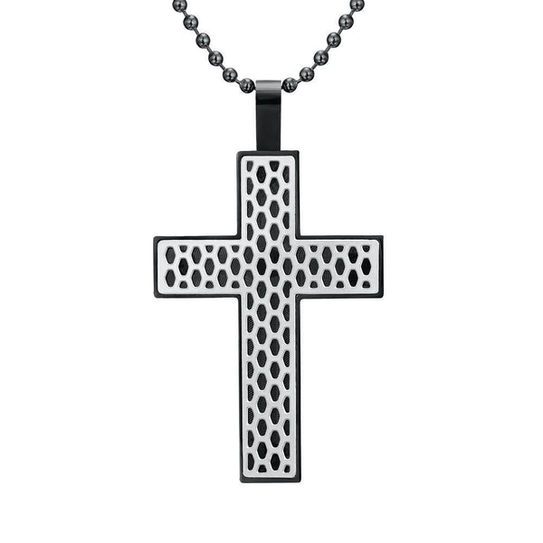 Willis Judd Mens Black Stainless Steel Tone Cross Honey Comb Pendant with Necklace and Gift Pouch